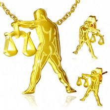 Złoty zestaw ze stali - kolczyki i wisiorek, znak Zodiaku Waga