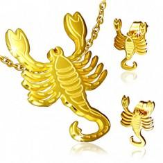 Zestaw ze stali w złotym kolorze, kolczyki wkręty i wisiorek, Skorpion