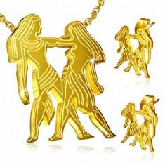 Stalowy zestaw w złotym kolorze, kolczyki i wisiorek, znak Zodiaku Bliźnięta