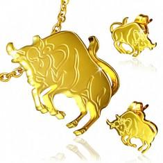 Złoty stalowy zestaw - kolczyki wkręty i wisiorek, Byk