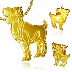 Złoty zestaw ze stali, kolczyki wkręty i wisiorek, Baran