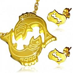 Stalowy zestaw w złotym kolorze - wisiorek i kolczyki, znak Zodiaku Ryby