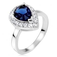 Srebrny pierścionek 925, niebieski kamień łezka z cyrkoniową obwódką