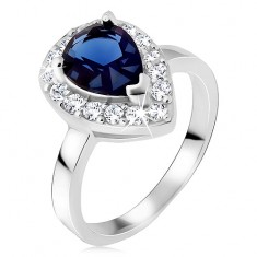 Srebrny pierścionek, niebieski kamień łezka z cyrkoniową obwódką