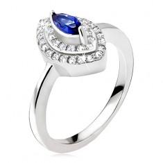 Srebrny pierścionek, niebieski kamyczek - ziarno, cyrkoniowa elipsa