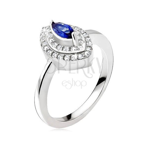 Srebrny pierścionek 925, niebieski kamyczek - ziarno, cyrkoniowa elipsa