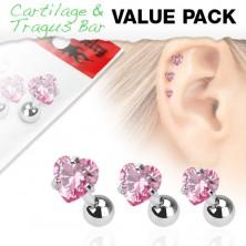 Zestaw trzech stalowych kolczyków do ucha, różowa cyrkonia w kształcie serduszka