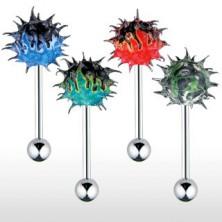 Kolczyk do języka z kolorowym silikonowym jeżykiem, ognisty wzór
