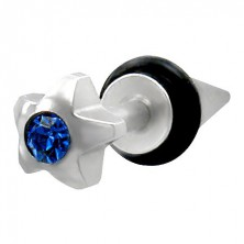 Fake piercing rozgwiazda z niebieską cyrkonią