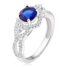 Srebrny pierścionek - ciemnoniebieski kamień, zaokrąglone cyrkoniowe pasy