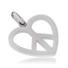 Stalowy wisiorek, symbol Peace w konturach serca