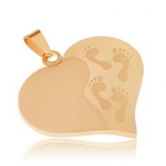 Złoty wisiorek ze stali, symetryczne serce, wygrawerowane ślady stóp