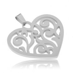Wisiorek ze stali, symetryczne serce z wycinanymi liniami