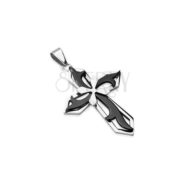 Zawieszka ze stali chirurgicznej - krzyż w kombinacji czarnego i srebrnego koloru