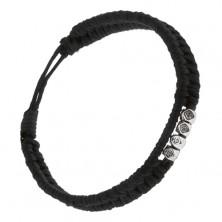 Pletený náramok z čiernych šnúrok, brúsené kocky s kvetmi