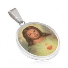 Oválny oceľový medailón, portrét Ježiša zaliaty glazúrou