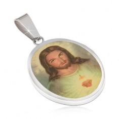 Owalny stalowy medalik, portret Jezusa zalany emalią