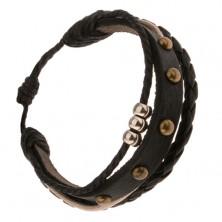 Multináramok, čierny vybíjaný pás kože, pletenec, šnúrky, tri kruhy