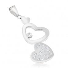 Oceľový prívesok - hladké a zirkónové srdce, kontúra srdca
