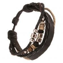 Čierny multináramok, pás kože, pletenec, šnúrky, valčeky z dreva a kovu
