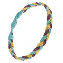 Fialovo-modro-žltý pletený šnúrkový náramok, vrkoč