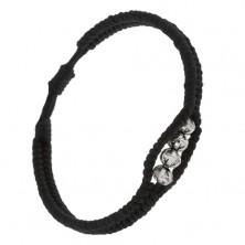 Pletený šnúrkový náramok čiernej farby, štyri patinované korálky