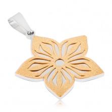 Dwukolorowy wisiorek ze stali - piaskowany wycinany kwiat