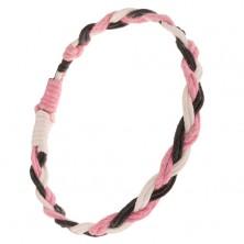 Náramok zo zapletaných bielych, čiernych a ružových šnúrok, vrkoč