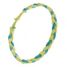Zielono-niebieska bransoletka z zaplatanych rzemyków