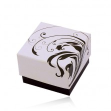 Pudełeczko prezentowe na biżuterię, czarno-biały motyw pnących się liści