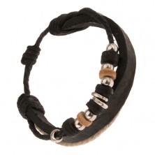 Multi bransoletka - czarny pas skóry, czarny i brązowy sznurek, ozdobne koraliki