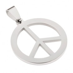 Stalowy wisiorek w srebrnym kolorze, symbol pokoju