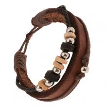 Bransoletka Multi - orzechowy pas skóry, sznurki, kółka z drewna i metalu