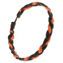 Pomarańczowo-czarna pleciona sznurkowa bransoletka, warkocz