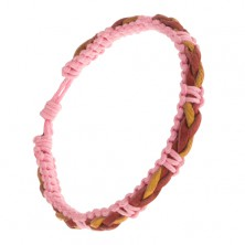Pleciona różowa bransoletka, czerwono-żółty warkocz ze skóry na powierzchni