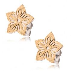 Dwukolorowe kolczyki ze stali, piaskowany wycinany kwiat