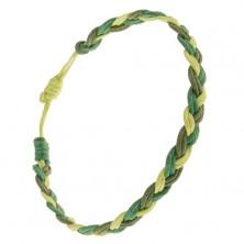 Warkoczowa bransoletka z rzemyków w trzech odcieniach zieleni