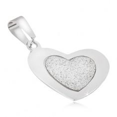 Wisiorek ze stali - piaskowane serce z lśniącą gładką ramką