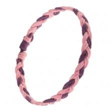 Różowo-fioletowa bransoletka z zaplatanych rzemyków, warkocz