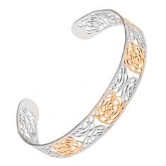 Wycinana złoto-srebrna piaskowana bransoletka ze stali, motyw róż