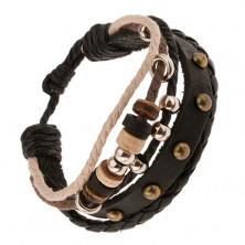Multi bransoletka - czarny skórzany pas i plecionka, sznurki, okrągłe ozdoby