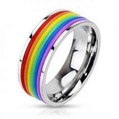 Lśniący stalowy pierścionek z gumowymi paskami w kolorach tęczy