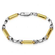 Bransoletka ze stali chirurgicznej - złote wałeczki, srebrne łączniki
