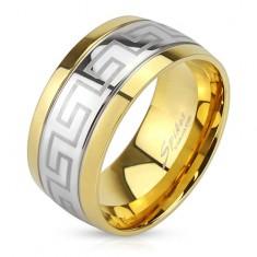 Stalowy pierścionek, pas klucza greckiego, krawędzie w złotym kolorze