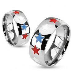 Pierścionek ze stali, emaliowane gwiazdy w białym, niebieskim i czerwonym kolorze