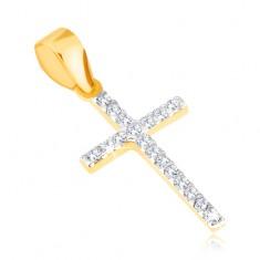 Wisiorek z żółtego złota 14K - cienki błyszczący krzyż łaciński, przezroczyste cyrkonie