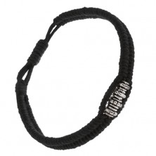 Czarna sznurkowa bransoletka, pleciona, lśniące szare ozdobne koraliki