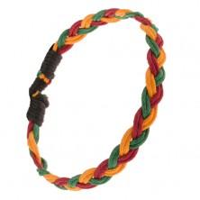 Żółto-czerwono-zielona bransoletka ze sznurków, styl warkoczowy