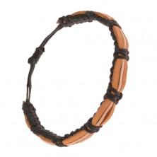 Bransoletka - czarny sznurkowy rzemyk, cynamonowe i beżowy pas skóry