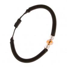 Oblý nylonový náramok čiernej farby, brúsený oranžový kamienok